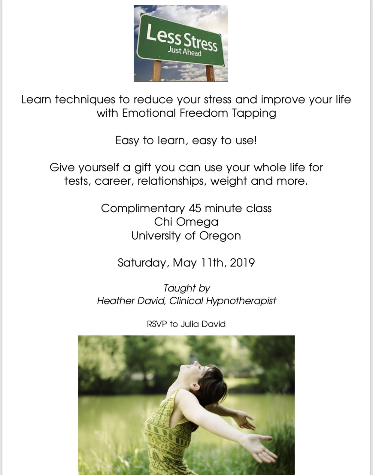 Emotional Freedom Tapping Event with Heather David, Clinical Hypnotherapist